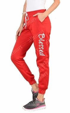 Women's Printed Blessed Christian Jesus Fleece Jogger Sweatpants Sweat Pants