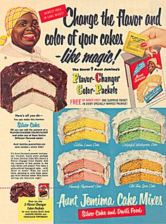 vintage ad -- I had no idea this concept was so old. I don't remember Aunt Jemima having cake mixes at all. Old Advertisements, Retro Advertising, Retro Ads, Vintage Ads, Vintage Posters, Vintage Food, Retro Food, 60s Food, Vintage Baking