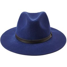 Forever 21 Wide-Brim Wool Fedora (€13) ❤ liked on Polyvore featuring accessories, hats, blue, wide brim hat, forever 21, wool fedora, blue hat et wide brim fedora