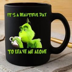 High quality ceramic mugDishwasher safeMicrowave safeBlack gloss 11 ozDecorated with full wrap dye sublimation Coffee Mug Quotes, Funny Coffee Mugs, Coffee Humor, Funny Mugs, Beer Quotes, Grinch Christmas Party, Christmas Mugs, Funny Relatable Memes, Funny Jokes