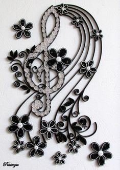 Quilled treble clef by pinterzsu on deviantART - Quilling Art Awesome Quilled Paper Art, Paper Quilling Designs, Quilling Patterns, Arte Quilling, Quilling Paper Craft, Paper Crafts, Trendy Tattoos, Black Tattoos, Quilled Creations