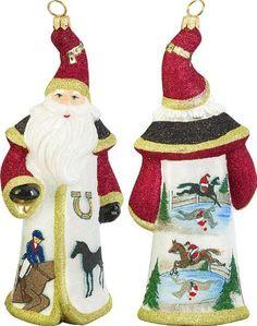 Glitterazzi Equestrian Santa Glass Christmas Ornament