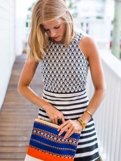 Navy and white geometric dress. Stripes. Resort wear! Tory Burch Fitbit. Stitch fix Spring 2016 - sign up today go get your own stylist for only $20.