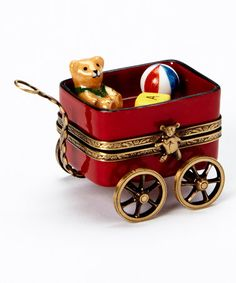 Red Wagon & Bear French Porcelain Box
