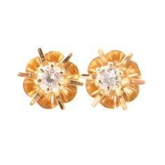 Vintage Diamond Stud Earrings in 14K Gold  by EncoreJewelryandGems