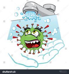 Vetor stock de Cartoon Corona Virus Showing Importance Washing (livre de direitos) 1672257415 Art Drawings For Kids, Pencil Art Drawings, Art Drawings Sketches, Drawing For Kids, Cute Drawings, Earth Day Drawing, Hand Washing Poster, Foto Gif, Dancing Drawings