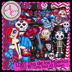 March 2015... Angelaz Creationz:  The Living Dead Blog Train has departed and this months theme was, Dia de los Muertos! So I have this kit for you and I hope you all enjoy it and can find some use for it!