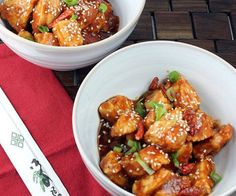 Most of the time, this takeout staple is deep-fried and covered in a sugary-sweet sauce, but this recipe for healthy General Tso's chicken uses baked chicken and a sugar- and salt-conscious sauce for a low-calorie meal.