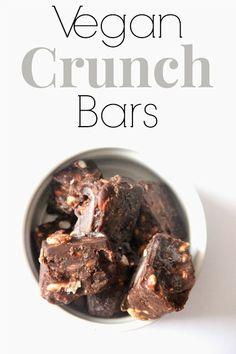 vegan mini crunch bars  1/2 c. liquid coconut oil 1 tsp. vanilla extract 3 tbsp. unsweetened cocoa powder 3 1/2 tbsp. pure maple syrup pinc...