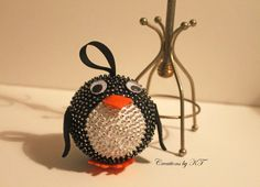 DIY Penguin Sequin Foam Ball Holiday Ornament (Inspiration Only. No Pattern or Instructions.)