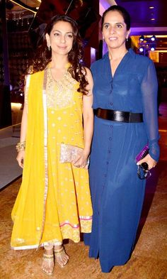 Juhi Chawla with Anita Dongre at the 2nd day of the Lakme Fashion Week 2013. #Bollywood #Style #Fashion #LFW