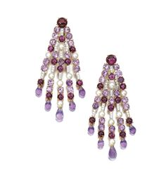 Pair of Gem Set, Cultured Pearl and Diamond Pendent Earrings, Michele Della Valle,  Each designed as an articulated fringe, set with cabochon rhodolite, tourmaline, circular cut and briolette amethysts, highlighted with cultured pearls and millegrain set brilliant cut diamonds.