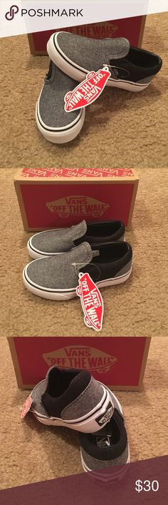 Vans Classic Slip On Little Boys Sneakers C&C New in box. Black/pewter Vans Shoes Sneakers