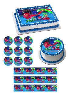 PJ MASKS 1 Edible Birthday Cake Topper OR Cupcake Topper Decor