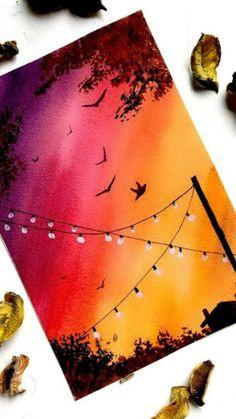 Watercolor Art Diy, Watercolor Paintings, Watercolours, Shadow Painting, Hippie Painting, Simple Canvas Paintings, Canvas Painting Tutorials, Art Painting Gallery, Mini Canvas Art