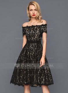 12b7ac7a277 A-Line Princess Off-the-Shoulder Knee-Length Zipper Up Regular Straps  Sleeveless Black Spring Summer Fall General Plus Lace US 2   UK 6   EU 32  Cocktail ...