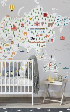 """Whether you're an advocate of ditching the classic """"blue for boys"""" and """"pink for girls"""" rule as part of this revolutionary movement, or are simply decorating your little one's room in suspense for them to be born, injecting interior flair and fun into their first space is essential. These adorable gender neutral nurseries are fit for every little prince or princess. #wallpaper #murals #interior #design #homedecor #accentwall #nursery genderneutralnursery #genderneutral #princeandprincess"""