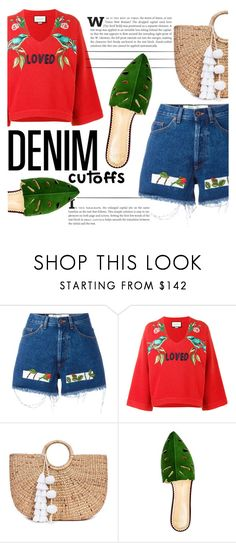 """""""Denim Cutoffs"""" by katerin4e-d on Polyvore featuring Off-White, Gucci, JADE TRIBE and Charlotte Olympia"""
