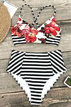 4b0da7b0d4097 Soak up the sun in the Garden Floral  amp  Stripe Bikini combines a red  floral