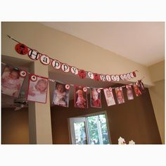 First birthday banner with a picture from each month of growing<3 Gonna do this! With Minnie Mouse theme(:
