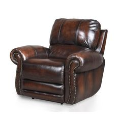 F18028-453507GLDRC Madison 45  Brown Leather-Match Recliner