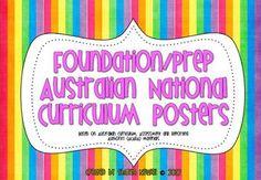 Foundation/Prep Australian National Curriculum Posters - Miss N - TeachersPayTeachers.com