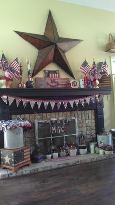 My 4th of July Mantel ....Love Red ,White and Blue....