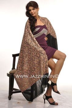 Wholesale Black Cashmere Pashmina Embroidered Scarf and Shawls from Jazzmin, Srinagar, Kashmir, India