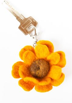 Wool Needle Felted Keychain Bag Charm with Yellow by LiviasDreams