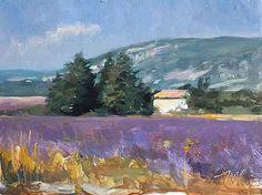 daily painting titled House and lavender fields Landscape Artwork, Watercolor Landscape, Lavendar Painting, Pablo Picasso, Illustrations, Illustration Art, Felder, Still Life Art, Lavender Fields