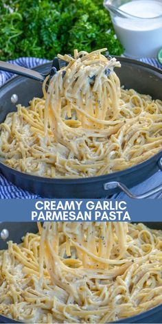 Our creamy garlic Parmesan pasta is a quick 20 minute meal. Its fast fix its super creamy and its just flat out delicious. Its a simple pasta dish perfect for lunch or dinner. Put this on your dinner menu now! Mexican Pasta Recipes, Rotini Pasta Recipes, Creamy Pasta Recipes, Yummy Pasta Recipes, Chicken Pasta Recipes, Healthy Recipes, Easy Noodle Recipes, Meatless Pasta Recipes, Angel Hair Pasta Recipes