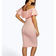 Ruffles Top Dress Blush Pink dress with straps and ruffles at the top. Knee length. NWT. Size 12. Dresses Midi