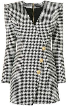 Balmain dogtooth wrap dress Kpop Fashion Outfits, Chic Outfits, Fashion Dresses, Blazers, Red Homecoming Dresses, Black Dress Outfits, Dress Indian Style, Classic Outfits, Parisian Style