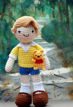 Christopher Robin (and his silly old Pooh Bear) Amigurumi in the Hundred Acre Wood