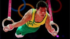 Sergio Sasaki Junior of Brazil competes on the rings in the Artistic Gymnastics Men's Individual All-Around final on Day 5 of the London 2012 Olympic Games at North Greenwich Arena.