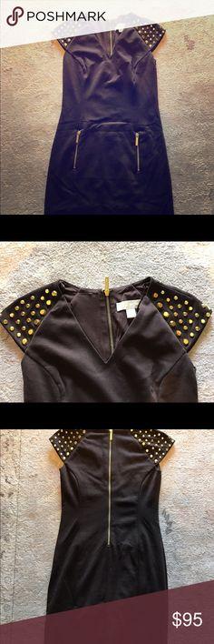 MK dress Michael Kors Cap sleeve studded dress. Gold zipper and gold zipper on pockets. Michael Kors Dresses Mini