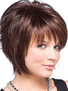 Short Hairstyles with Bangs for Long Faces and Thick Fine Hair in Brown Color 2017