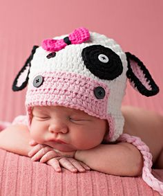 Another great find on #zulily! Melondipity White & Pink Cow Crochet Hat by Melondipity #zulilyfinds