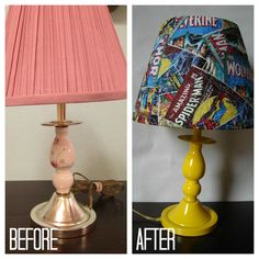 {just a $3 lamp from a thrift store, some spray paint and fabric!}  the power of DIY....a lamp redo tutorial - A girl and a glue gun Marvel Room, Marvel Lamp, Batman Lamp, Spiderman Lamp, Marvel Comics, Superhero Lamp, Superman Bedroom, Boys Superhero Bedroom, Superhero Room Decor