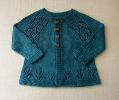 """very cute baby sweater. Pattern is Maile Sweater, a free pattern by Nikki Van De Car available on her blog """"What To Knit When You're Expecting."""""""