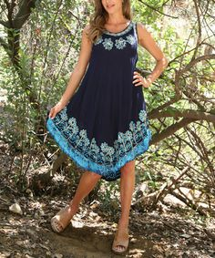 Look what I found on #zulily! Navy & Blue Floral Embroidered Sleeveless Dress by Ananda's Collection #zulilyfinds