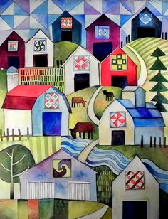 Quilt Barns, watercolor painting by Ken Swinson, could this be turned into a quilt, I wonder