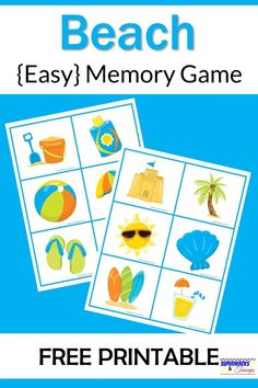 Help your child understand and enjoy the beach with this easy memory game. Includes 12 pictures all related to the topic. #summerprintables #beachmemorygames #summermemorygames #freeprintables #printablesforkids #superheroesandteacups
