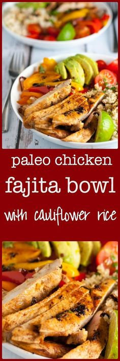Paleo Chicken Fajita Bowl with Cauliflower Rice. A paleo Tex-Mex meal in a bowl with low-carb cauliflower rice, succulent chicken breasts, peppers, onions, tomatoes and avocado. An easy weeknight meal. via @enessman