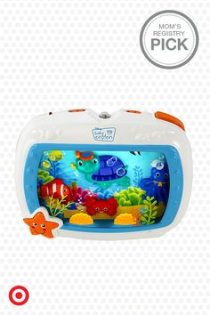 A Mom's Registry Pick, the Baby Einstein Sea Dreams Lullaby Soother is an irresistible toy that teaches, entertains and calms your baby. Fun characters swim against a backdrop of ocean imagery, accompanied by lights and sounds. The soothing mode helps put your baby to sleep.