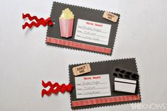 Movie invite ... DIY TICKETS FOR   MOVIE NIGHT ...customize for the occasion