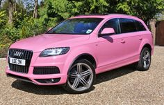 25 Pink Cars That Confident Men Can Drive Pink Clocks, Pink Wheels, Mid Size Suv, Bike Trailer, Audi Q7, Mercedes Benz Amg, Sexy Cars, Luxury Cars, Pretty In Pink