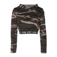 New Stylish Camouflage Print Long Sleeve Cropped Hoodie (£20) ❤ liked on Polyvore featuring tops, cut-out crop tops, camo print top, long sleeve crop top, long-sleeve crop tops and long sleeve tops