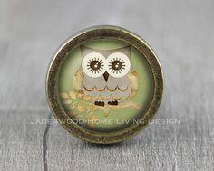 Owl  Handmade Vintage Bronze Dresser knobs cabinet by jade4wood