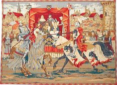 """Jousting tournament tapestry. A French tapestry wall-hanging: 19""""x27"""" or 39""""x56""""."""